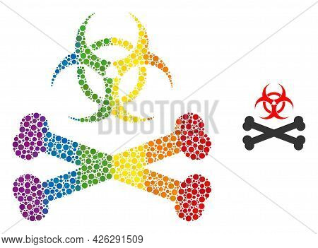Biohazard Bones Mosaic Icon Of Spheric Blots In Different Sizes And Spectrum Color Tones. A Dotted L