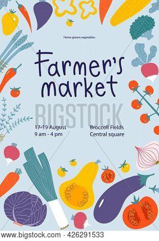 Vegetable Frame Border For Farmers Market Poster Design. Fresh Local Veggies In Trendy Flyer.