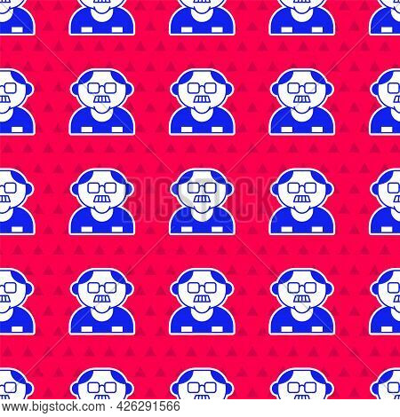 Blue Grandfather Icon Isolated Seamless Pattern On Red Background. Vector