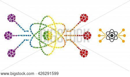 Atomic Circuit Composition Icon Of Round Dots In Variable Sizes And Spectrum Color Tinges. A Dotted