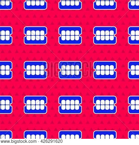 Blue False Jaw Icon Isolated Seamless Pattern On Red Background. Dental Jaw Or Dentures, False Teeth