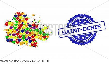 Blue Rosette Scratched Seal With Saint-denis Message. Vector Mosaic Lgbt Map Of Antigua Island With
