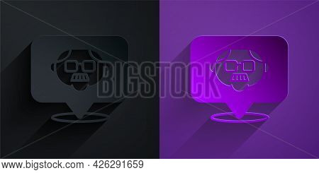 Paper Cut Grandfather Icon Isolated On Black On Purple Background. Paper Art Style. Vector