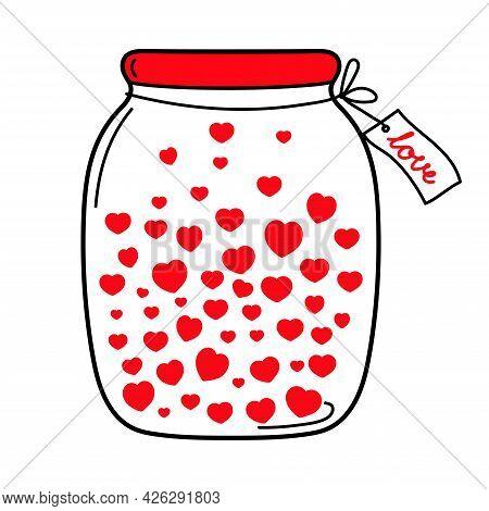 Jar Of Hearts. Love Jar. Valentine's Day. Declaration Of Love. Happy Birthday. Vector Hand Drawn Ill