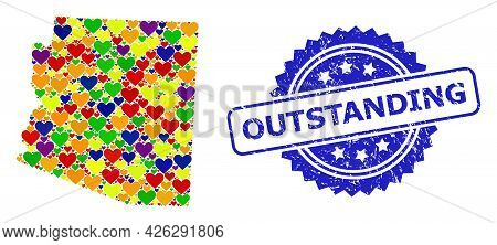 Blue Rosette Rubber Seal Imprint With Outstanding Phrase. Vector Mosaic Lgbt Map Of Arizona State Wi