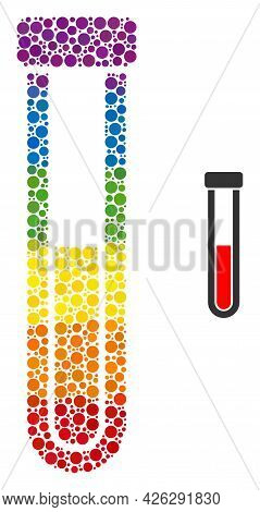 Blood Test-tube Composition Icon Of Round Dots In Variable Sizes And Rainbow Multicolored Color Tint