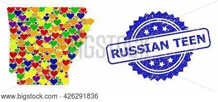 Blue Rosette Rubber Seal Imprint With Russian Teen Message. Vector Mosaic Lgbt Map Of Arkansas State