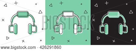 Set Headphones Icon Isolated On White And Green, Black Background. Earphones. Concept For Listening