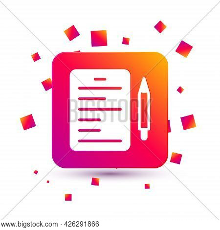 White Scenario Icon Isolated On White Background. Script Reading Concept For Art Project, Films, The