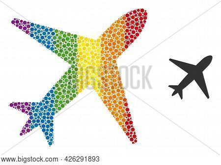 Airplane Mosaic Icon Of Spheric Blots In Various Sizes And Rainbow Colored Color Tones. A Dotted Lgb