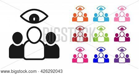 Black Spy, Agent Icon Isolated On White Background. Spying On People. Set Icons Colorful. Vector