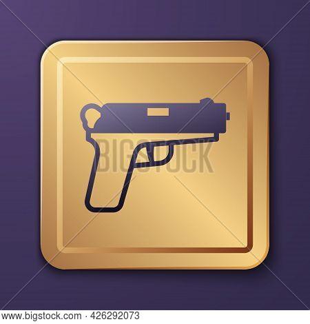 Purple Pistol Or Gun Icon Isolated On Purple Background. Police Or Military Handgun. Small Firearm.
