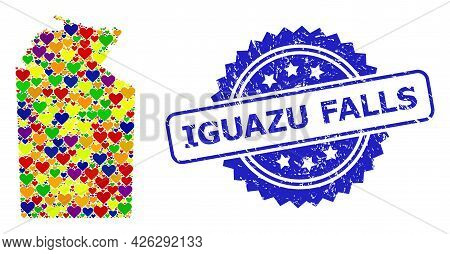 Blue Rosette Scratched Seal Stamp With Iguazu Falls Message. Vector Mosaic Lgbt Map Of Australian No
