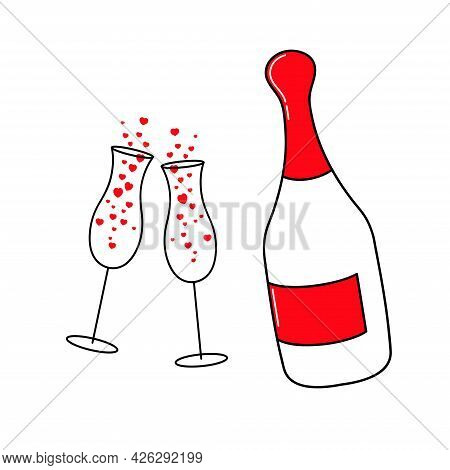 Champagne And Two Glasses. Hearts. Valentine's Day. Declaration Of Love. Happy Birthday. Vector Hand