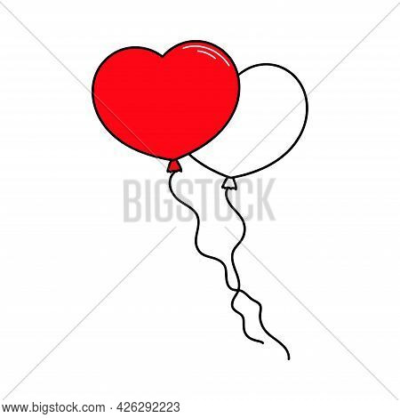 Balloons Hearts. Red And White Balloons. Valentine's Day. Declaration Of Love. Happy Birthday. Vecto