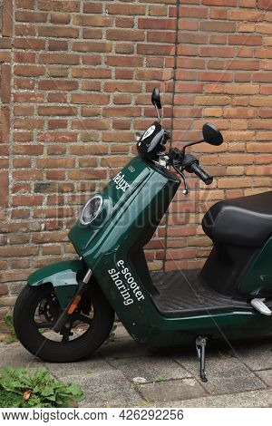 Haarlem, The Netherlands - June 26th 2021: Rental Scooter From The Felyx App-based Scooter Rental Se