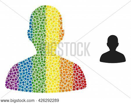 Person Profile Collage Icon Of Circle Elements In Variable Sizes And Spectrum Color Shades. A Dotted