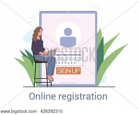 Young Female Character Registering Online. Person Using Digital Device To Register Or Sign Up Online
