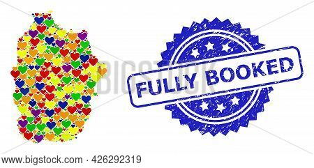 Blue Rosette Grunge Seal Stamp With Fully Booked Text. Vector Mosaic Lgbt Map Of Azores - Flores Isl