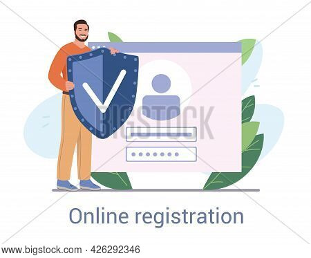 Smiling Young Male Character Registering Online. Person Using Digital Device To Register Or Sign Up