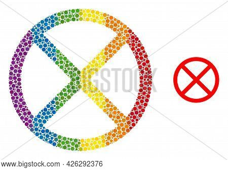 Forbidden Mosaic Icon Of Filled Circles In Variable Sizes And Rainbow Bright Color Tinges. A Dotted