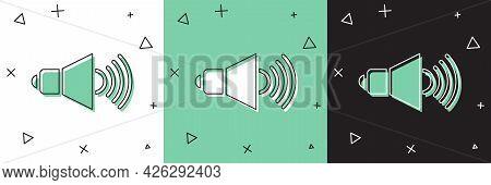 Set Speaker Volume, Audio Voice Sound Symbol, Media Music Icon Isolated On White And Green, Black Ba