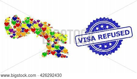 Blue Rosette Rubber Watermark With Visa Refused Title. Vector Mosaic Lgbt Map Of Baffin Island With