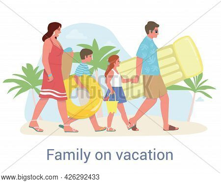 Cute Happy Family Spending Summer Vacation At Resort. Mother, Father, Children. Parents And Kids Hav