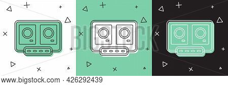 Set Dj Remote For Playing And Mixing Music Icon Isolated On White And Green, Black Background. Dj Mi