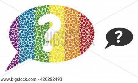 Unknown Message Collage Icon Of Circle Spots In Various Sizes And Spectrum Color Tints. A Dotted Lgb