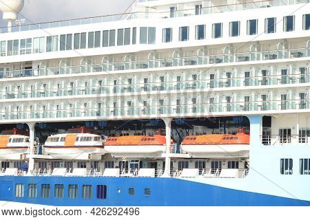 Ijmuiden, The Netherlands - July 2nd 2021: Marella Explorer 2 At Terminal At The End Of Covid 19 Pan