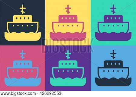 Pop Art Ark Of Noah Icon Isolated On Color Background. Wood Big High Cargo. Vector