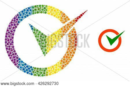 Checkbox Circle Collage Icon Of Circle Elements In Variable Sizes And Spectrum Color Tinges. A Dotte