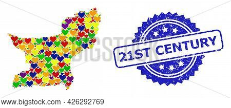 Blue Rosette Scratched Stamp With 21st Century Title. Vector Mosaic Lgbt Map Of Balochistan Province
