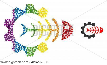 Toxic Industry Composition Icon Of Circle Elements In Variable Sizes And Rainbow Color Tints. A Dott