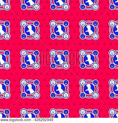 Blue International Community Icon Isolated Seamless Pattern On Red Background. Worldwide Community.