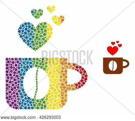 Love Coffee Cup Collage Icon Of Circle Elements In Various Sizes And Rainbow Colored Color Tinges. A