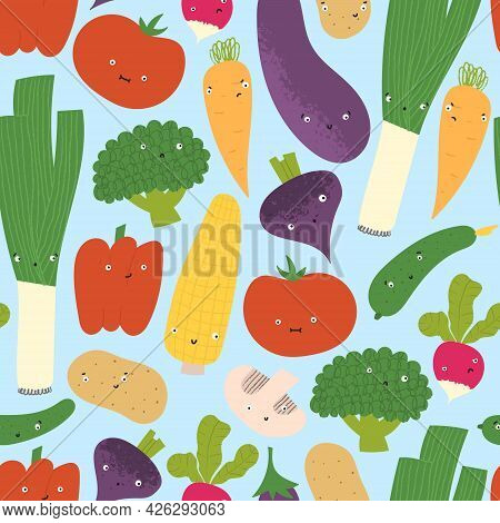 Cute Vegetables With Funny Faces In Seamless Pattern. Hand Drawn Flat Healthy Food With Emotions.