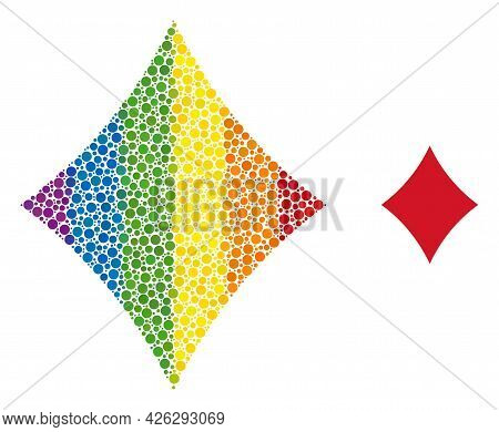 Playing Card Diamond Suit Composition Icon Of Circle Elements In Variable Sizes And Rainbow Colorful