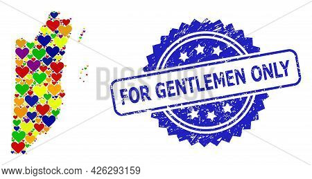 Blue Rosette Textured Seal Stamp With For Gentlemen Only Message. Vector Mosaic Lgbt Map Of Belize W
