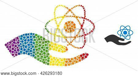 Quantum Service Hand Composition Icon Of Circle Elements In Different Sizes And Spectrum Colored Col