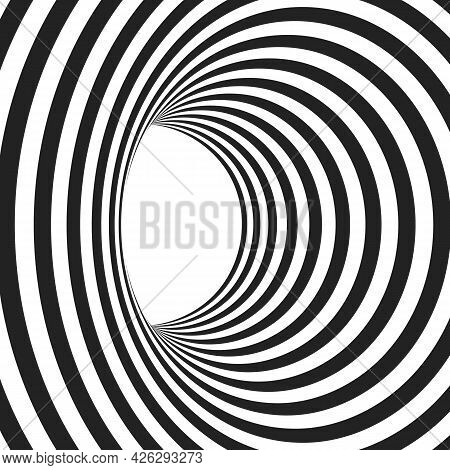 Abstract Black And White Concentric Lines That Makes A Striped Tunnel.  Optical Illusion Effect. Mod
