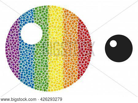 Sphere Mosaic Icon Of Circle Spots In Different Sizes And Rainbow Color Tones. A Dotted Lgbt-colored