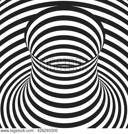 Abstract Black And White Concentric Stripes. Optical Illusion Effect. Hypnotic Art Background.