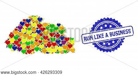 Blue Rosette Textured Watermark With Run Like A Business Text. Vector Mosaic Lgbt Map Of Bhutan Of L