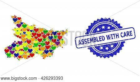 Blue Rosette Scratched Stamp With Assembled With Care Caption. Vector Mosaic Lgbt Map Of Bihar State