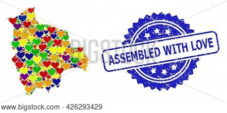 Blue Rosette Rubber Seal Stamp With Assembled With Love Caption. Vector Mosaic Lgbt Map Of Bolivia W