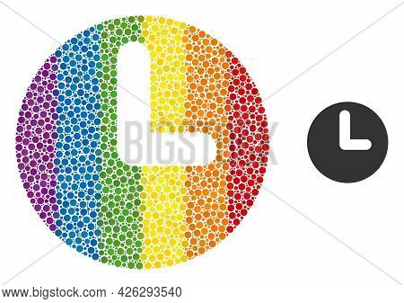 Time Composition Icon Of Round Dots In Variable Sizes And Rainbow Color Tones. A Dotted Lgbt-colored