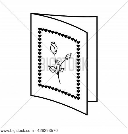 Card With Roses And Hearts. Valentine's Day. Declaration Of Love. Vector Hand Drawn Illustration. Fo