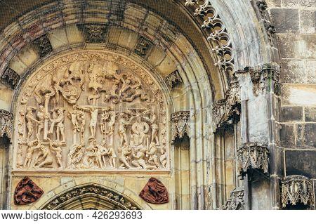 Bas-relief On Famous Landmark - Church Of Our Lady Before Tyn In Prague, Czech Republic. Jesus Chris